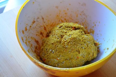 Kürbisbrot Teig mit gekochtem Kürbis