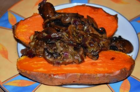 Ofen-Süßkartoffel mit Pilzen rezepte im Herbst