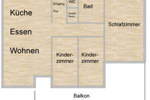 Mieten oder Kaufen. Grundriss einer 4 Zimmer Wohnung