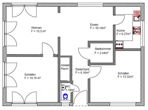 Mieten oder kaufen. Grundriss 4 Zimmer Wohnung