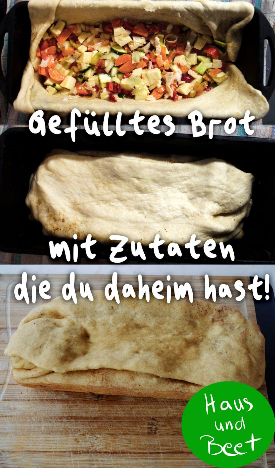 Gefülltes Brot mit einfachen Zutaten