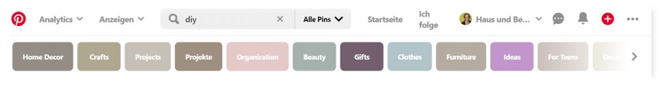 Pinterest Suche DIY 2